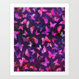Butterfly Forest Purple Art Print