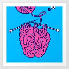 Knitting a brain Art Print