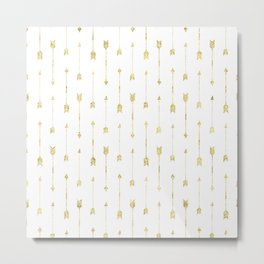 White And Gold Glitter Arrow Pattern Metal Print
