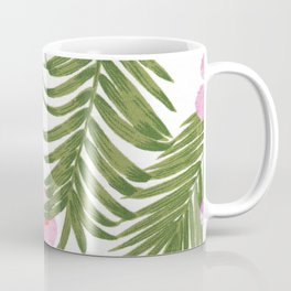 Modern pink green palm tree tropical floral Coffee Mug