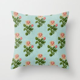 vintage rose - blue Throw Pillow