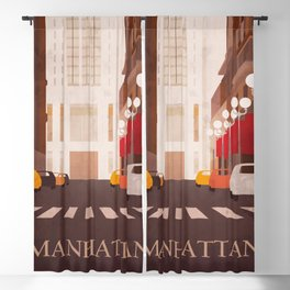 New York Manhattan watercolor Blackout Curtain