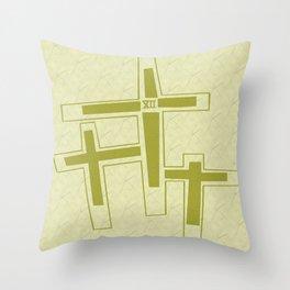 Three Crosses on Calvary. Throw Pillow