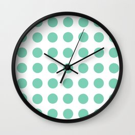 Lucite Green Polka Dots Wall Clock