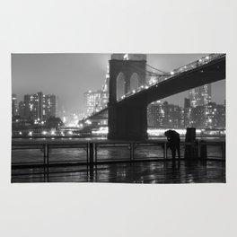 Brooklyn Bridge on a rainy night Rug