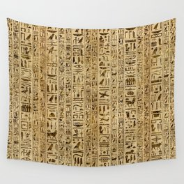 Egyptian hieroglyphs on papyrus Wall Tapestry