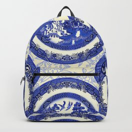 Vintage Blue Willow Plates Backpack