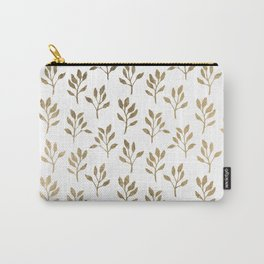 Stylish white faux gold modern elegant floral Carry-All Pouch