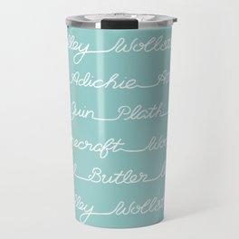 Feminist Book Author Surname Hand Written Calligraphy Lettering Pattern - Blue Travel Mug