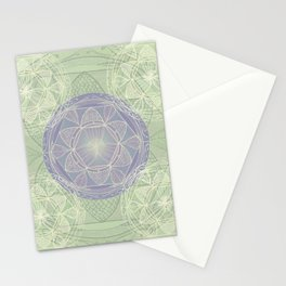 Mandala Pattern in Mint and Lilac Stationery Cards