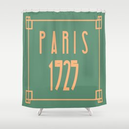 Paris 1925 Art Deco Exposition Framed Typography Tribute Shower Curtain