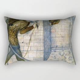 Edward Burne-Jones  - Tile Design - Theseus and the Minotaur in the Labyrinth Rectangular Pillow