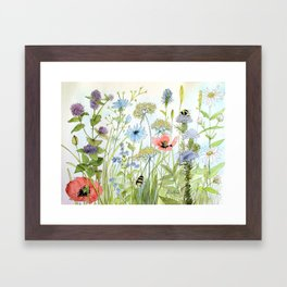Floral Watercolor Botanical Cottage Garden Flowers Bees Nature Art Framed Art Print