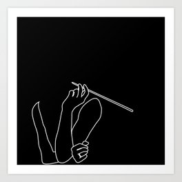 Minimal line drawing of Audrey Hepburn in the famous Breakfast at Tiffany's Art Print