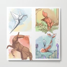 Element Origami Metal Print