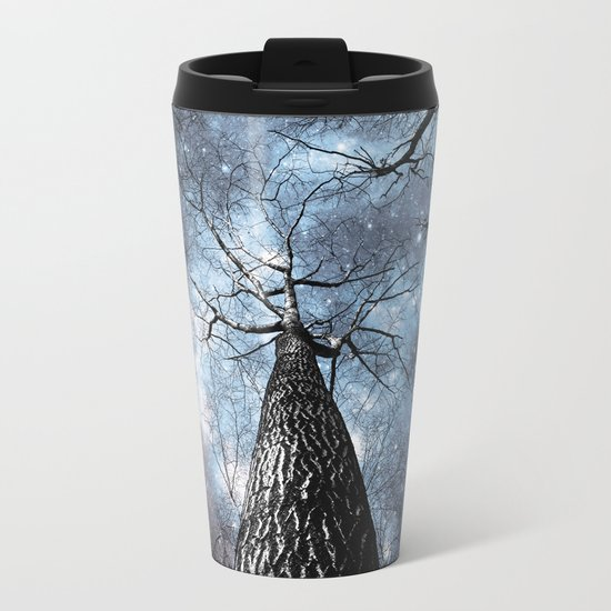 Wintry Trees Galaxy Skies Steel Blue Metal Travel Mug