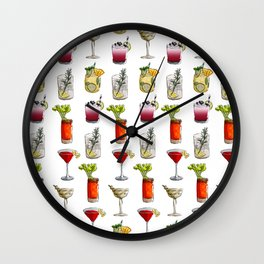 Classic Cocktails Pattern - Classic Cocktails series Wall Clock