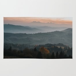 Hazy Mountains - Landscape and Nature Photography Rug