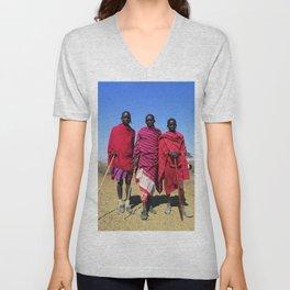 3 African Men from the Maasai Mara Unisex V-Neck
