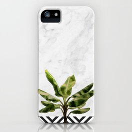 Banana Plant on White Marble and Checker Wall iPhone Case