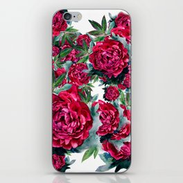 Watercolor Peony Pattern iPhone Skin
