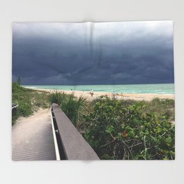 Stormy Sky, Aqua Sea Throw Blanket