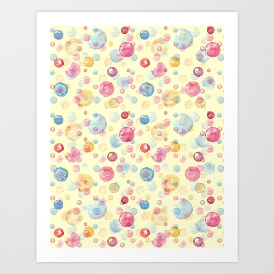 Colorful Watercolors Polka Dots Art Print