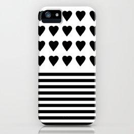 Heart Stripes Black on White iPhone Case
