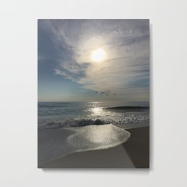 Morning Walk on the Beach in the OBX Metal Print