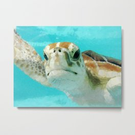 Geometric Sea Turtle Metal Print