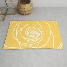 Sunshine Yellow Rose Drawing Rug