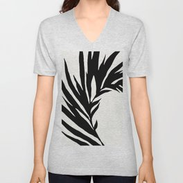 Black and White Curved Palm Frond Ink Drawing Unisex V-Neck