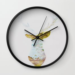 Loch Lomond scenery in a stag outline Wall Clock
