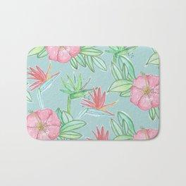 Tropical Flowers Soft Blue Background Bath Mat