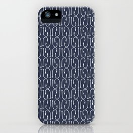 Fish Hooks in Navy Blue iPhone Case