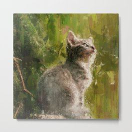 Cute abstract kitten Metal Print