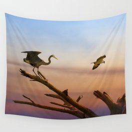 Heron And Osprey At Sunset Wall Tapestry
