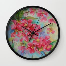 Quince blossom Red flowers Floral nature painting Impressionistic Oil sketch Wall Clock