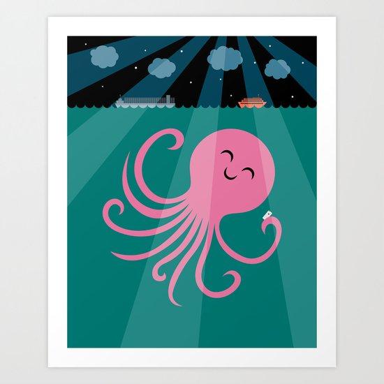 Octopus Selfie at Night Art Print