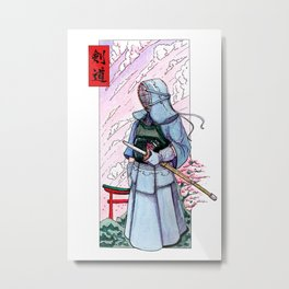 Kendoka watercolor in Japan! Metal Print