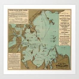 Vintage Map of Boston Harbor (1884) Art Print