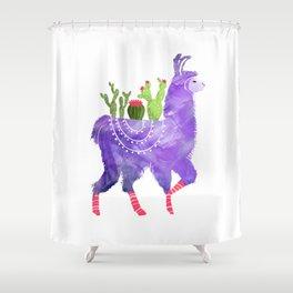 No Prob-Llama - Purple Llama and Cacti Shower Curtain