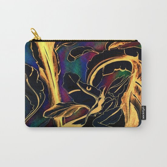 Blue Succulent Colorful Night, Black and Gold Rainbows Carry-All Pouch