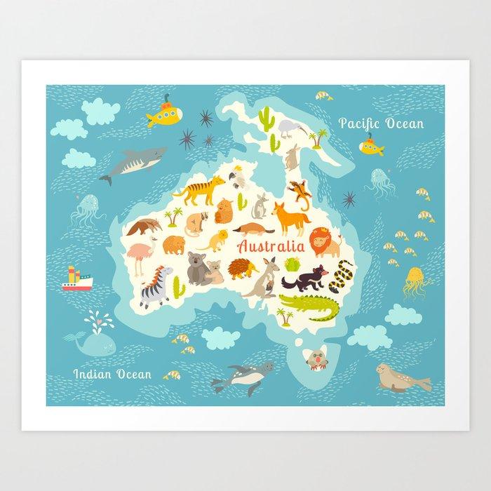 Preschool World Map.Animals World Map Australia Vector Illustration Preschool Baby