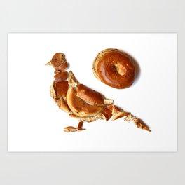 Pigeon Bagel Art Print
