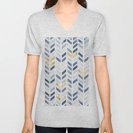 Herringbone chevron pattern. Indigo gold acrylic on canvas Unisex V-Neck