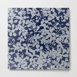 Blue and Grey Floral Pattern - Broken but Flourishing Metal Print