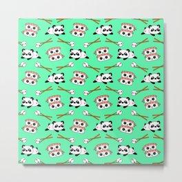 Cute funny Kawaii chibi little playful baby panda bears, happy cheerful sushi with shrimp on top, rice balls and chopsticks bright teal green pattern design. Nursery decor. Metal Print