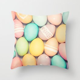Colorful Easter Egg Photograph - Pink, Teal, Green Yellow and Orange Throw Pillow