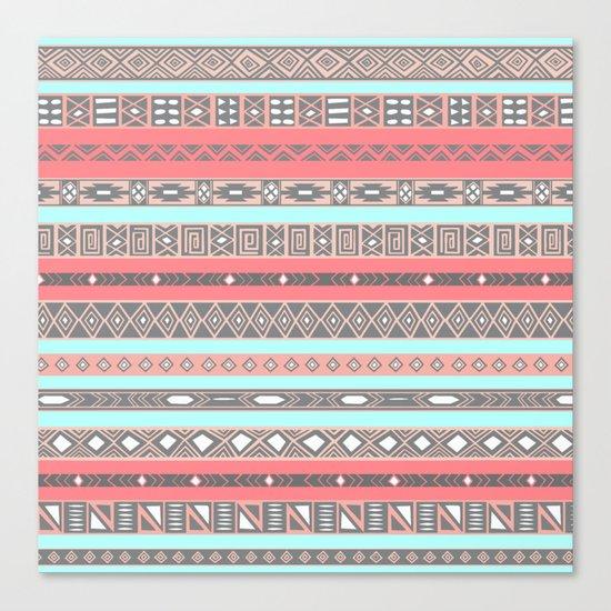 Peach Rose Baby Blue Aztec Tribal Native Pattern Canvas Print